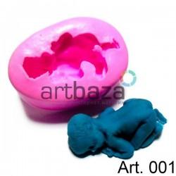 Силиконовый молд 3D (вайнер), 3D baby shape silicone mold / малыш, размер 4.2 х 6.5 см., толщина 2.6 см., REGINA