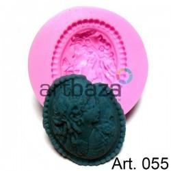 Силиконовый молд 3D (вайнер), камея, диаметр 6 см., толщина 1.4 см., REGINA