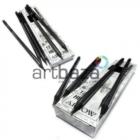Набор чернографитных карандашей Arrow с резинкой, HB, 12 штук, Hatber, арт.: BHc_12011 (4606782052273)