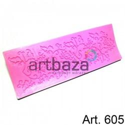 Силиконовый молд 3D (вайнер), цветы бордюры-3, размер 17 х 6.2 см., толщина 0.4 см., REGINA