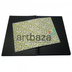 Тканевая бумага на клеевой основе (Fabric Sticker), зелёные ромашки на белом фоне, 210 х 295 мм.
