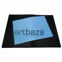 Тканевая бумага на клеевой основе (Fabric Sticker), белая ромашка на голубом фоне, 210 х 295 мм.
