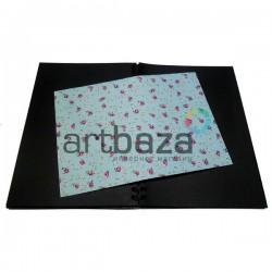 Тканевая бумага на клеевой основе (Fabric Sticker), красные розы на голубом фоне, 210 х 295 мм.