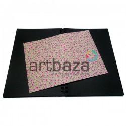 Тканевая бумага на клеевой основе (Fabric Sticker), розовые цветочки на бежевом фоне, 210 х 295 мм.