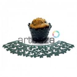Ажурная накладка (формочка) для кексов, маффинов, капкейков с индивидуальным узором, зеленая, 25 штук