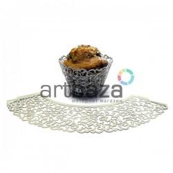 Ажурная накладка (формочка) для кексов, маффинов, капкейков с индивидуальным узором, серебро, 25 штук