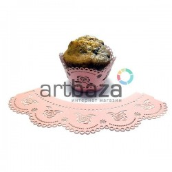 Ажурная накладка (формочка) для кексов, маффинов, капкейков с индивидуальным узором, розовая, 25 штук