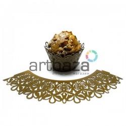 Ажурная накладка (формочка) для кексов, маффинов, капкейков с индивидуальным узором, коричневая, 25 штук