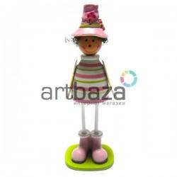 """Деревянная статуэтка на полку """"Пастушок в розовой шляпке"""""""