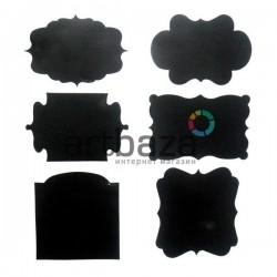 Набор меловых наклеек с матовой поверхностью (стикеров), 6 штук + мелок, Shmick