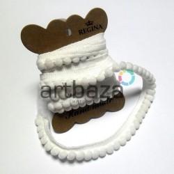 Лента с помпонами, Белого цвета, толщина - 1.3 см., длина - 1.5 м., REGINA