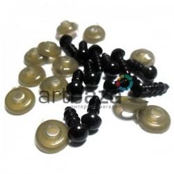 Набор черных декоративных глаз с креплением,  Ø5.5 мм., длина ножки 1 см., 12 штук