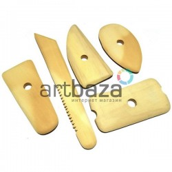 Стеки для лепки скульптурные деревянные купить в Украине, 5 предметов для работы с глиной и пластилином