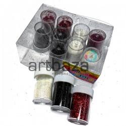 Набор блесток сухих (глиттера), 4 красных, 4 черных, 4 белых, 7 грамм