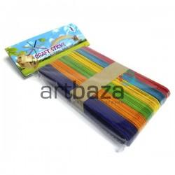 Набор цветных декоративных палочек для поделок и рукоделия (плоские деревянные палочки для мороженого), 15 x 1.9 см., 50 штук, C