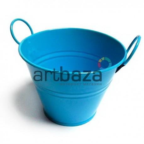 """Заготовка металлическая оцинкованная цветная """"Ведро с двумя ручками"""", голубое, Maries"""