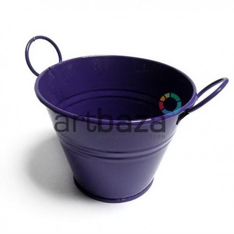 """Заготовка металлическая оцинкованная цветная """"Ведро с двумя ручками"""", фиолетовое, Maries"""