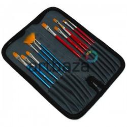 Набор художественных синтетических кистей в пенале (холдере) на застежке - молнии, 12 штук, REGINA