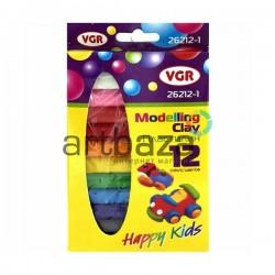 Пластилин детский 12 цветов, 200 грамм, VGR