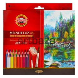 Набор акварельных карандашей Mondeluz, 48 цв. + кисть + точилка, Koh-i-noor