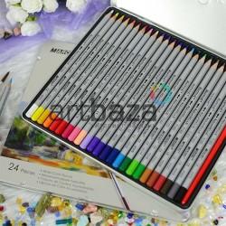 Карандаши акварельные, 24 цвета, шестигранные, в металлическом пенале, Marco Raffine