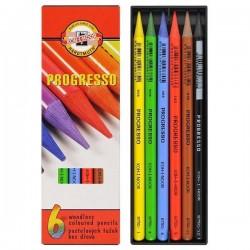 Карандаши цветные бездревесные цельнографитные 6 цв., PROGRESSO, Koh-I-Noor, арт.: 8755 (8593539002222)