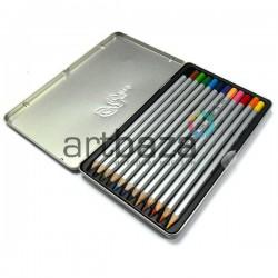 Карандаши цветные, шестигранные, 12 шт., в металлическом пенале, Marco Raffine