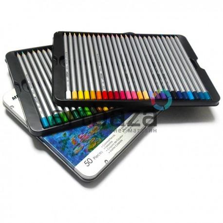 Карандаши цветные, шестигранные, 50 шт., в металлическом пенале, Marco Raffine