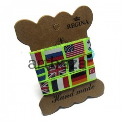 """Лента декоративная хлопковая с полноцветной печатью, """"Флаги стран"""", ширина 15 мм., длина 1 м., REGINA"""