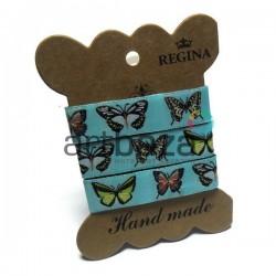 """Лента декоративная хлопковая с полноцветной печатью, """"Бабочки"""", ширина 15 мм., длина 1 м., REGINA"""