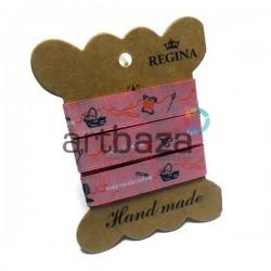"""Лента декоративная хлопковая с полноцветной печатью, """"Hand made"""", ширина 15 мм., длина 1 м., REGINA"""