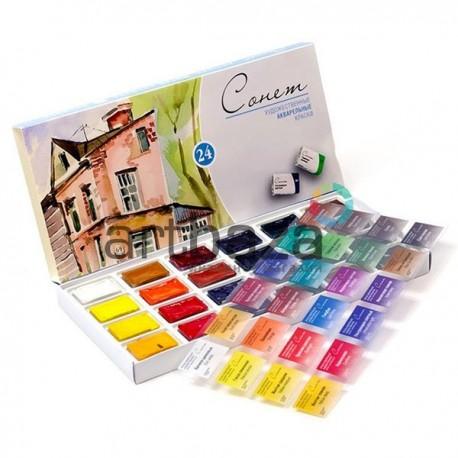 Набор акварельных красок в кюветах, 24 цвета, картонная коробка, Сонет, ЗХК, Невская Палитра