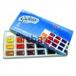 Набор акварельных красок в кюветах, 24 цвета, в картонной коробке, Ладога, ЗХК, Невская Палитра