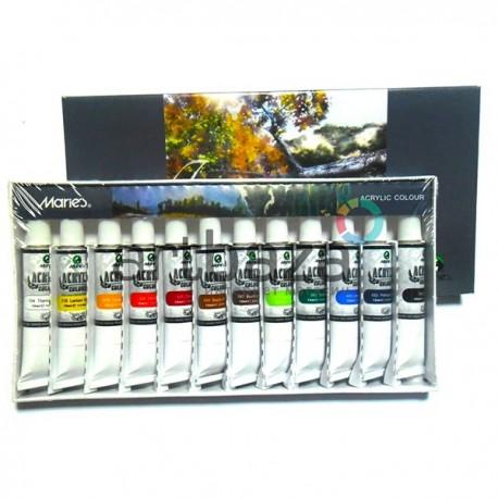 Набор художественных акриловых красок, 12 цветов по 12 мл., Maries