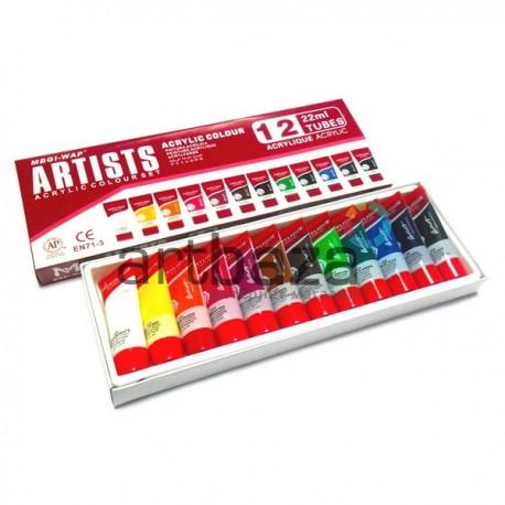 Набор художественных акриловых красок 12 цветов по 22 мл., Sheloi ● LA1222 ● 6949905202314