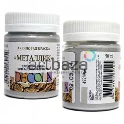 Краска акриловая металлик, серебро, 50 мл., Decola