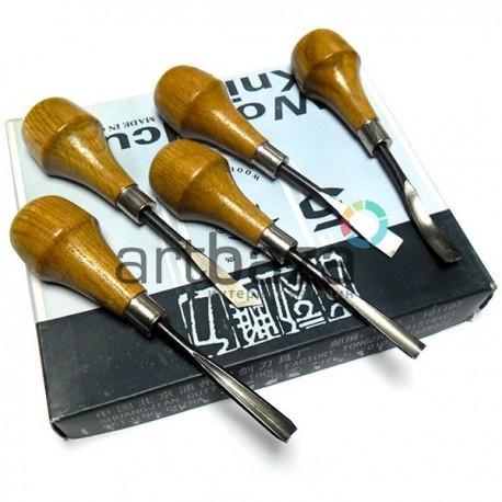 Набор резцов профессиональных по дереву, 5 штук, Woodcut Knife