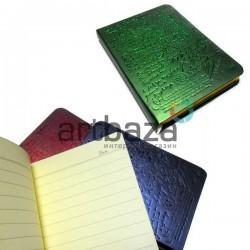 """Блокнот """"Винтажное письмо"""" зелёный, с золотым торцом, 90 х 128 мм., 96 листов, YASAC"""