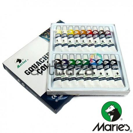 Набор художественных гуашевых красок, 18 цветов по 12 мл., Martol