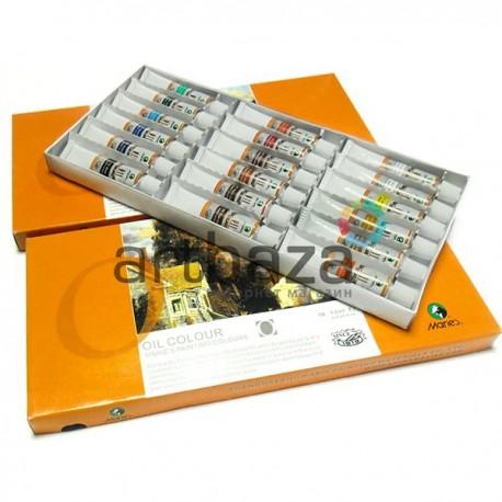 Набор профессиональных художественных масляных красок, 18 цветов по 12 мл., Maries, арт.: E1388B (6901893120889)
