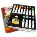 Набор художественных масляных красок, 12 цветов по 12 мл. + льняное масло 60 мл., Maries