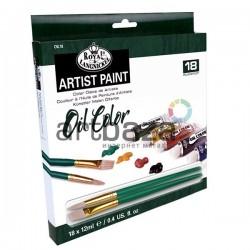 Набор художественных масляных красок, 18 цветов + 2 кисти, Royal Langnickel