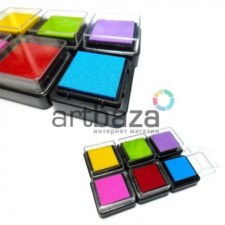 """Набор штемпельных подушек с чернилом """"Радуга"""" для штампинга, скрапбукинга и создания открыток, 6 цветов"""