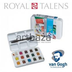 Набор художественных акварельных красок, 12 + 3 цвета + кисть + палитра, Van Gogh, Royal Talens