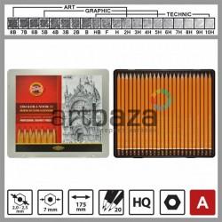 Набор карандашей чернографитных, HARDTMUTH ART COLECTION, 1500 8В-10H, Koh-I-Noor