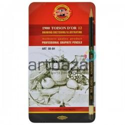 Набор карандашей чернографитных, ART TOISON D'OR, 1900 8В-8H, Koh-I-Noor