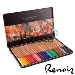 Набор профессиональных цветных карандашей, 36 шт., в металлическом пенале, Marco Renoir