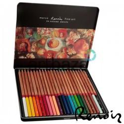 Набор профессиональных цветных карандашей, 24 шт., в металлическом пенале, Marco Renoir