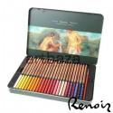 Карандаши акварельные профессиональные, 48 цветов, круглые с кистью, в металлическом пенале, Marco Renoir