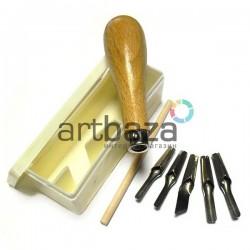 """Набор резцов (штихелей) """"Cutting Tools"""" по линолеуму в пластиковом пенале, 7 предметов, REGINA"""
